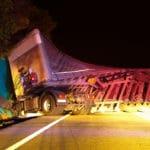Overturned large truck in crash